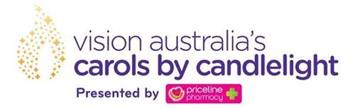 Text Reads: Vision Australia's Carols by Candlelight present by Priceline Pharmacy with Carols by Candlelight logo and Priceline logo